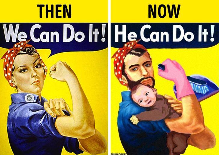 Ngày trước chỉ có phụ nữ làm việc nhà, giờ đàn ông cũng có thể vừa làm việc nhà , vừa trông con