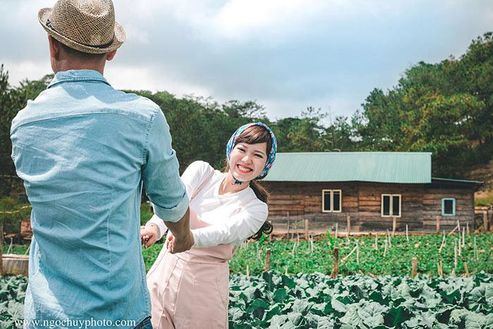 Ảnh cưới tại vườn rau củ Đà Lạt