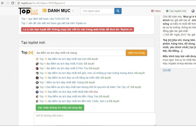 Kiểm tra bằng công cụ Toplist.vn không phát hiện bài trùng