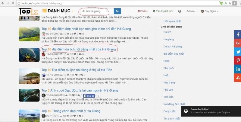 Kiểm tra bằng tìm kiếm trên Website Toplist.vn phát hiện trùng