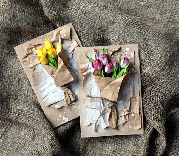 Thiệp 8/3 gắn đầy hoa với phong cách vintage