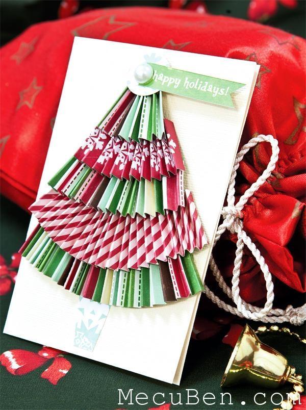 Hình ảnh thiệp cây thông Noel bằng giấy.