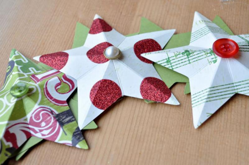 Cách làm vòng nguyệt quế Noel ngôi sao may mắn