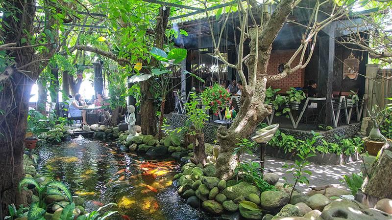 Cafe Amazon với vườn vây xanh mát và hồ cá Koi đủ màu sắc