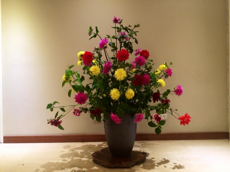 Cắm hoa hình tam giác
