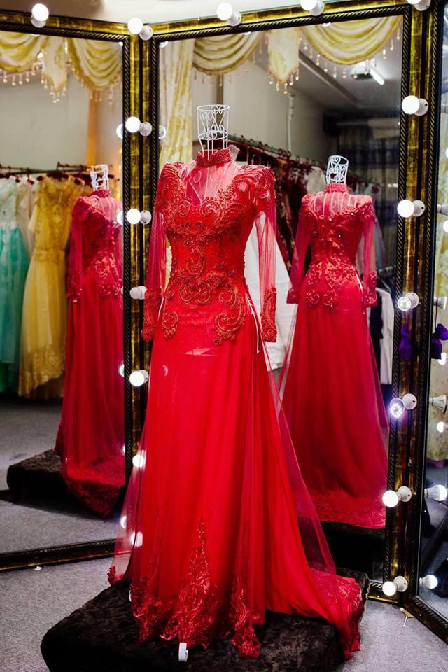 Mẫu áo dài cưới màu đỏ sang trọng, quý phái tại Canary