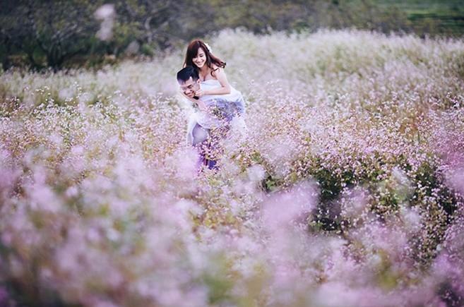 Những nụ hoa nhỏ li ti nở rộ tô điểm cho bức ảnh của hai bạn
