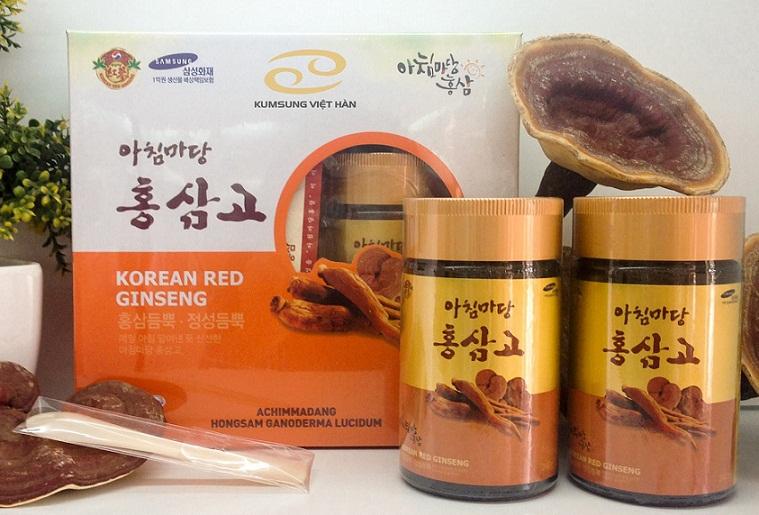 Sản phẩm cao hồng sâm linh chi được sản xuất bằng công nghệ hiện đại tạo lên sự kết hợp hoàn hảo giữa hồng sâm và linh chi Hàn Quốc, mang lại những công dụng vô cùng quý báu, chính là giải pháp giúp chúng ta đánh tan các vấn đề về sức khỏe
