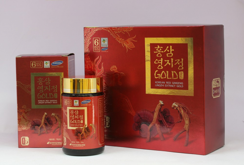 Cao Hồng Sâm Linh Chi Pocheon Korean Red Ginseng Lingzhi Extract Gold 2 Lọ 240g