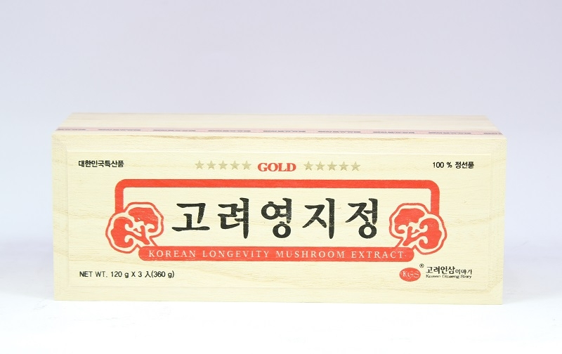 Cao Linh Chi KGS Korean Longevity Mushroom Extract Gold Hộp Gỗ 360g (120g x 3 lọ)