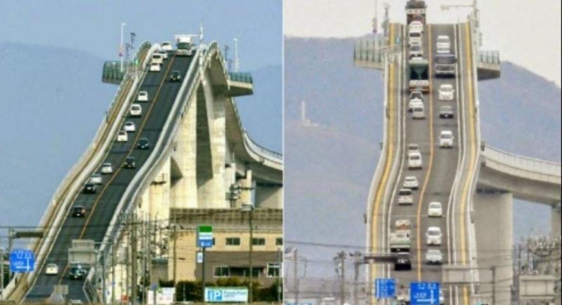 Cây cầu khi được chụp từ xa dễ gây cho du khách cảm giác lo sợ về độ dốc gần như thẳng đứng