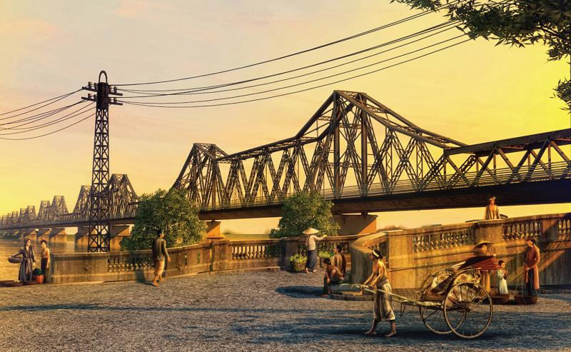 Khi ánh mặt trời vừa ló rạng hay đến khi dần buông xuống, quang cảnh chiếc cầu Long Biên đem đến cảm giác an yên nhẹ nhàng của vùng ngoại ô, tách biệt hoàn toàn so với sự phồn hoa đô thị.