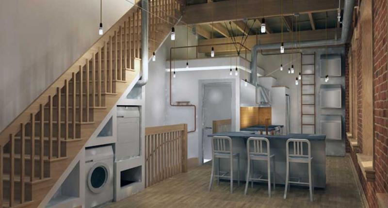 Gầm cầu thang tận dụng chứa đồ trong bếp