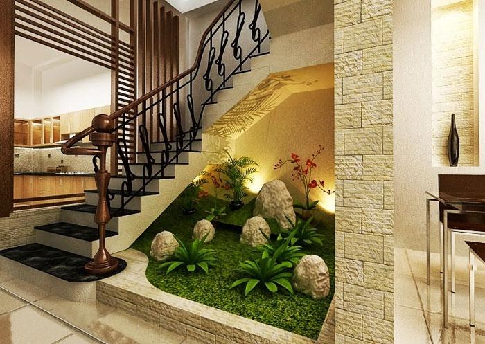 Cầu thang kết hợp tiểu cảnh cho ngôi nhà bạn thêm sang trọng
