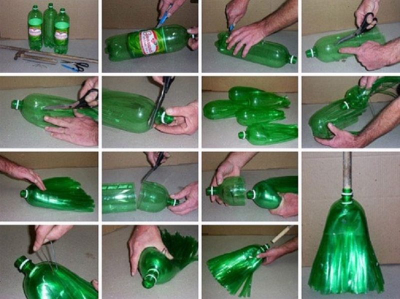 Một chiếc chổi nhỏ gọn, tiện dụng dễ dàng mang theo từ những chiếc chai nhựa.
