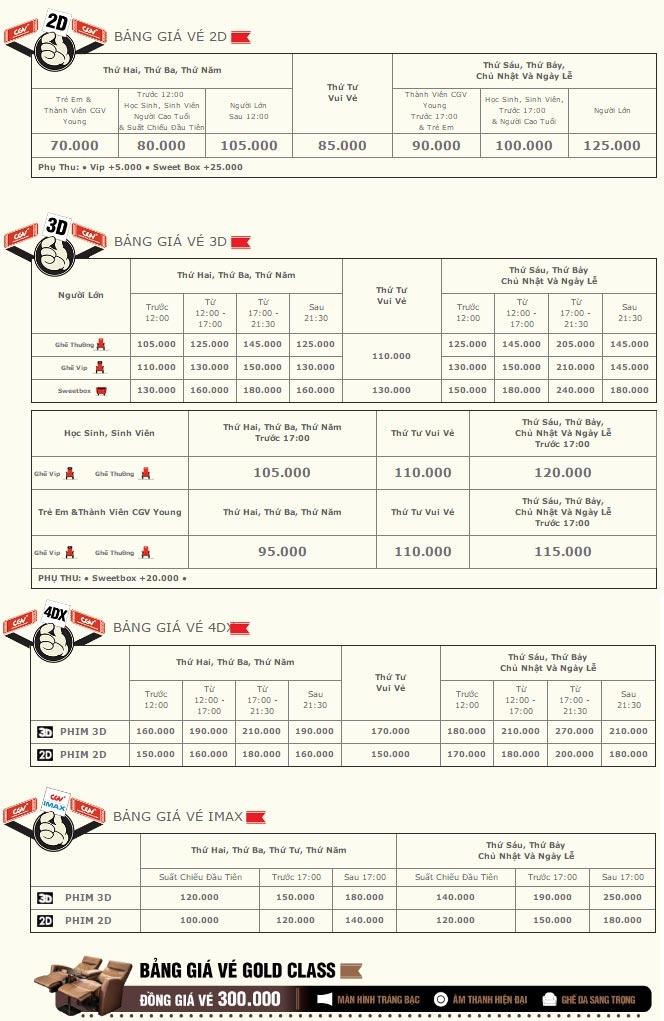 Giá vé áp dụng tại CGV Hoàng Văn Thụ. Các CGV khác có giá vé rẻ hơn khoảng từ 5.000 - 10.000 đồng