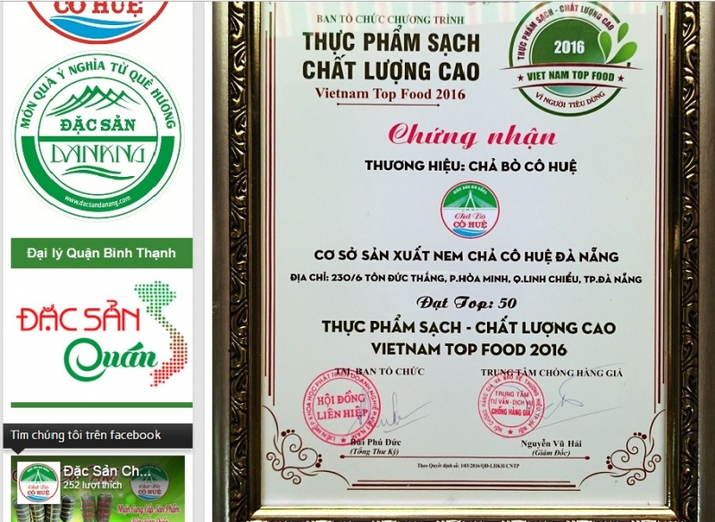 Danh hiệu top 50 thực phẩm sạch - chất lượng cao Việt Nam.