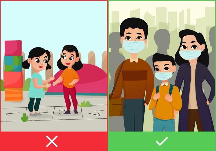 Nhắc con phải đeo khẩu trang để phòng tránh nguy cơ lây nhiễm Virus Corona