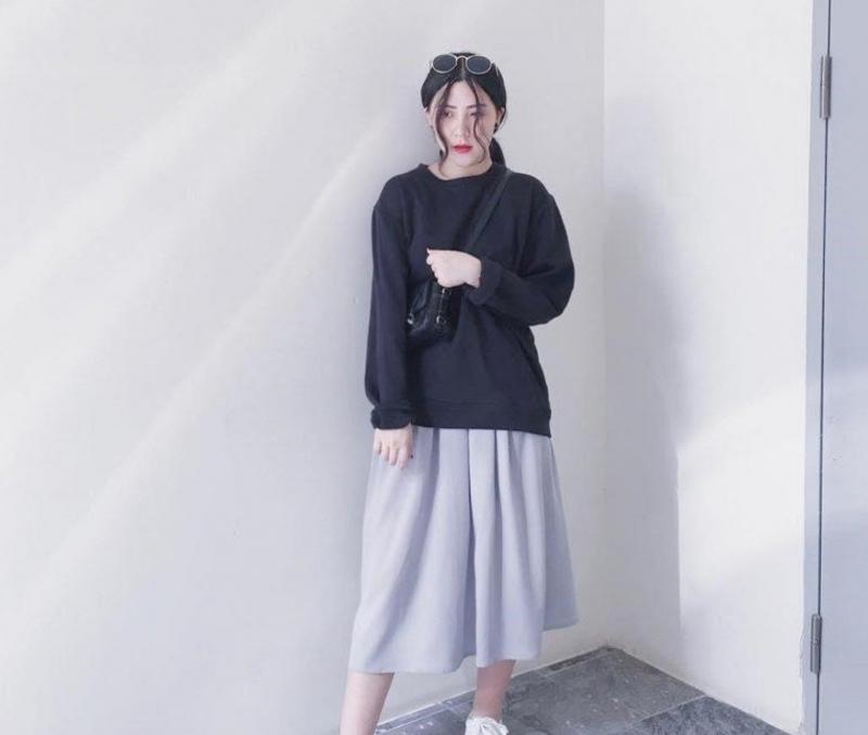 Chân váy dài + áo nỉ