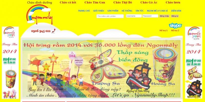 Website của cháo dinh dưỡng Ngon Mê Ly