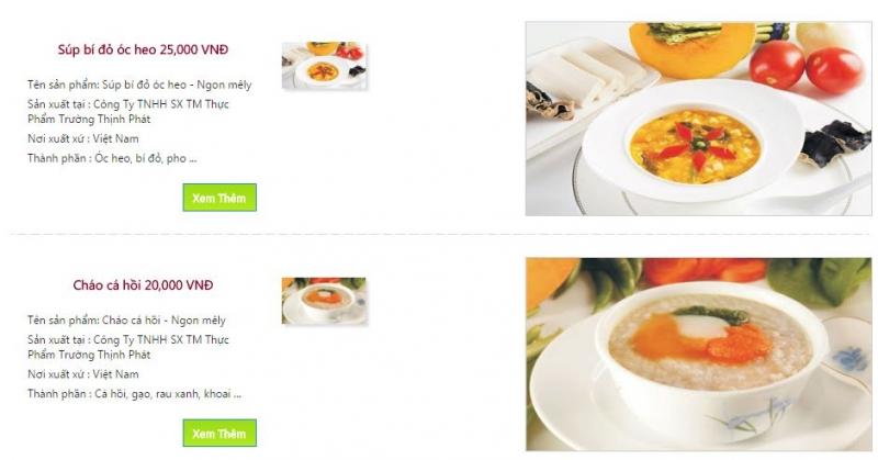 Một số món cháo của cháo dinh dưỡng Ngon Mê Ly