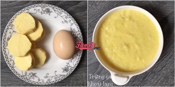 Cháo khoai lang trứng gà