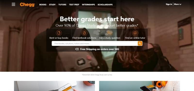 Giao diện của Chegg.com