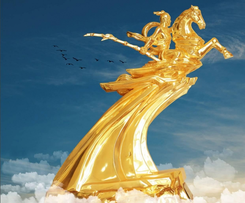 Thánh Gióng cưỡi ngựa sắt bay về trời