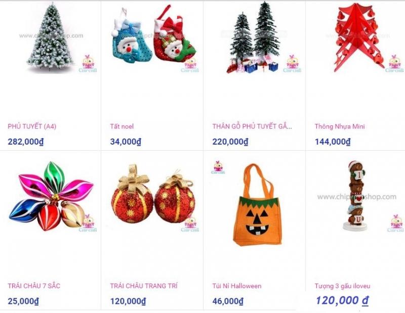 Giá một số mặt hàng tại Shop