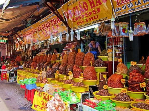 Specialty fish sauce at Chau Doc market