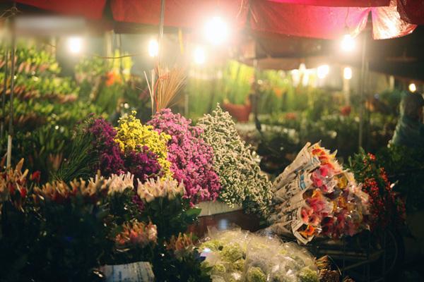Dưới ánh đèn cao áp, từng sạp hoa bày kín những bó hoa còn đọng nguyên sương mai ngày mới, nở rộ khoe sắc.