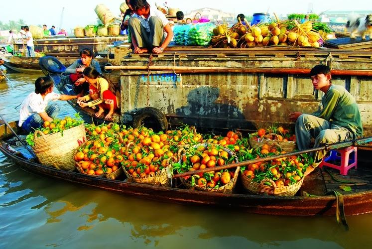 Ghe hàng đầy ắp trái cây tươi ngon đang được mua trên chợ nổi Cái Răng