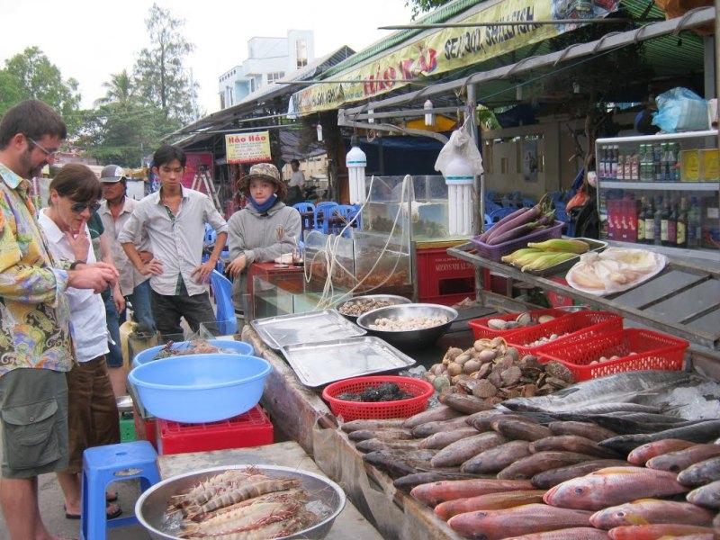 Hải sản được bán tại chợ