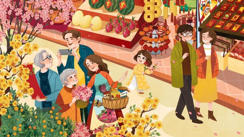 Chợ Tết nơi thành thị tấp nập