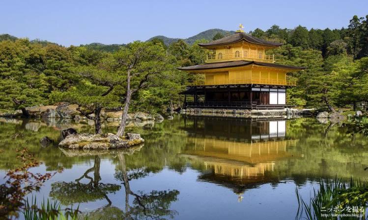 Chùa vàng Kinkakuji nổi bật giữa màu xanh của thiên nhiên.
