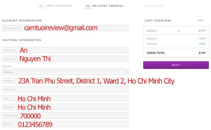 Ví dụ về một cách ghi địa chỉ chính xác nhất