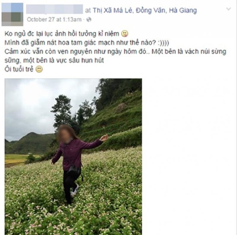 Các bức ảnh giẫm nát hoa của một cô gái đang đi phượt.
