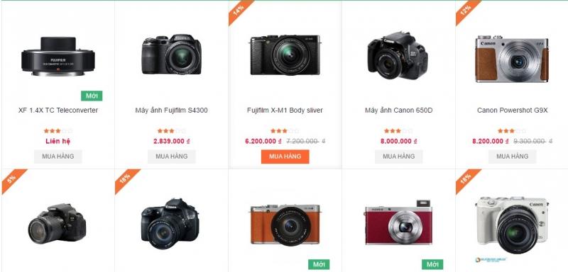Một số sản phẩm máy ảnh