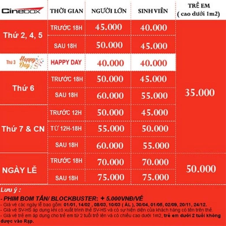 Giá vé tại Cinebox Lý Chính Thắng