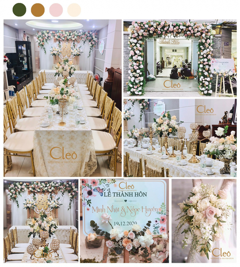 Tại Cleo Wedding & Decoration có sẵn 100 mẫu trang trí trọn gói đám cưới độc đáo khác nhau từ trẻ trung, phá cách đến sang trọng, cổ điển