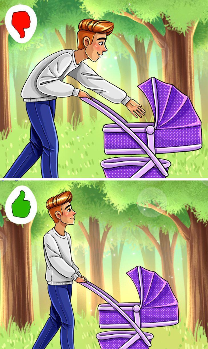 Cố gắng không cúi người xuống khi sử dụng xe đẩy