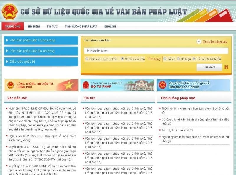 Trang web này được thiết kế thành nhiều danh mục như: văn bản pháp luật địa phương, văn bản pháp luật trung ương và  bộ pháp điển điện tử