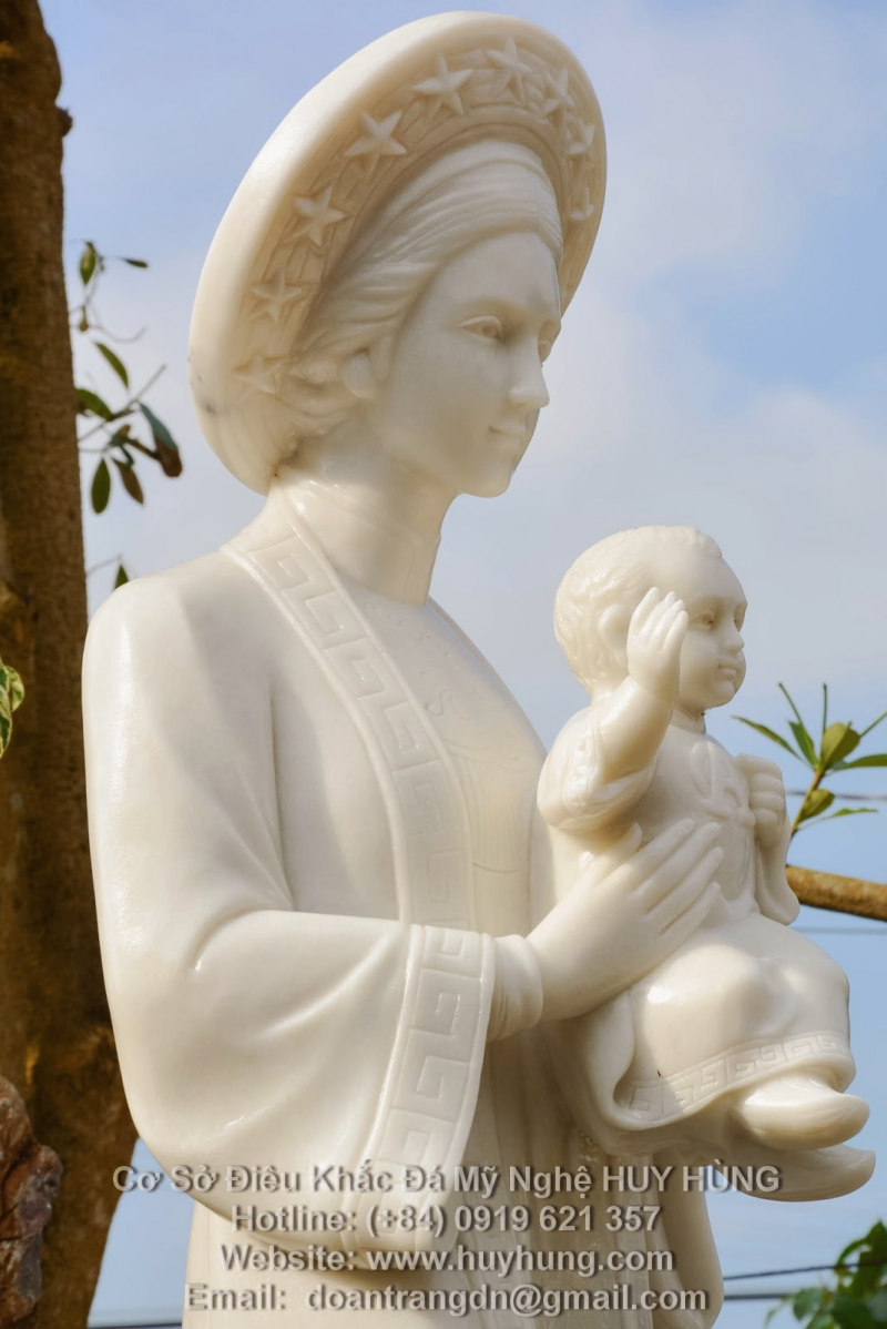 Tượng Đức Mẹ Lavang Đá Mỹ Nghệ Huy Hùng