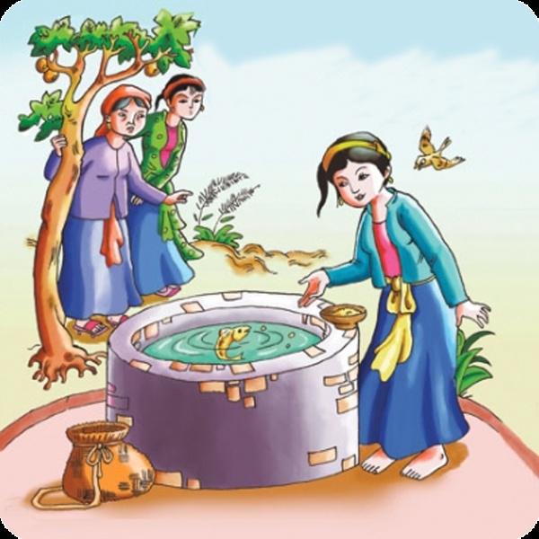 Cô Tấm cho cá bống ăn