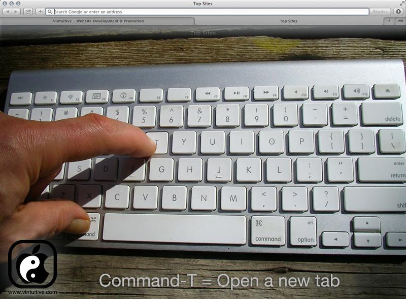 Mở tab trình duyệt mới với Command + T