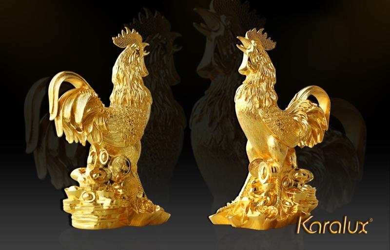 Tượng gà mạ vàng