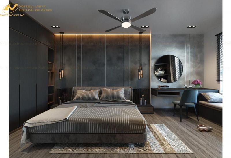 Gam màu trầm cho phòng ngủ thêm sang trọng.