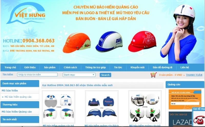 Website của Công ty Cổ phần Đầu tư sản xuất và Thương mại Việt Hưng