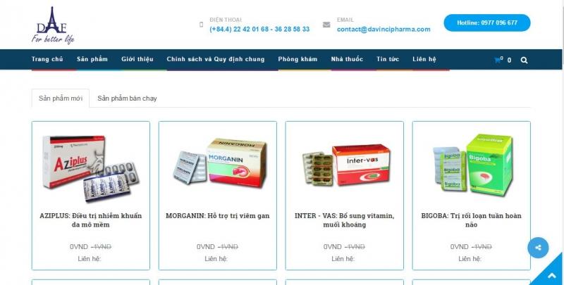 Website của Công ty cổ phần dược phẩm Davinci – Pháp