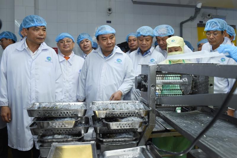 Thủ tướng Nguyễn Xuân Phúc thăm nhà máy sản xuất của tập đoàn Minh Phú.